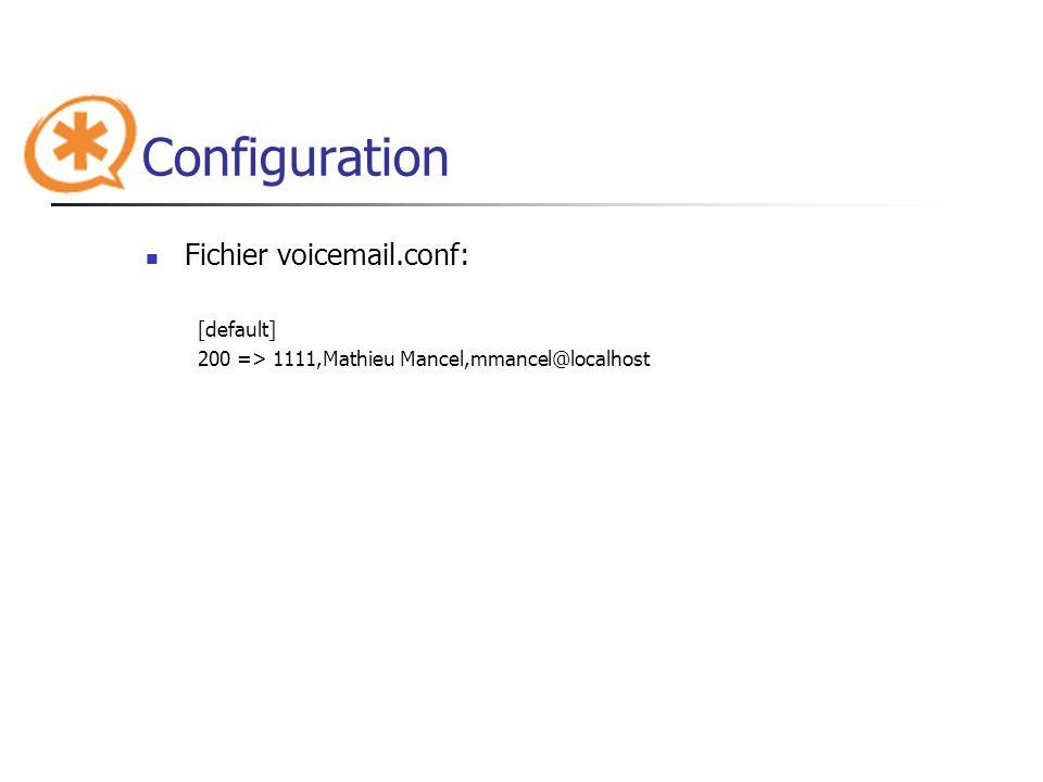Configuration Fichier voicemail.conf: [default]
